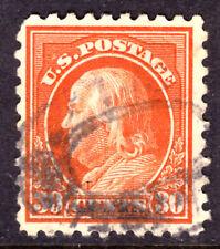 USA #439 30c ORANGE, 1914 FRANKLIN, PERF10, Wmk.190, F, USED