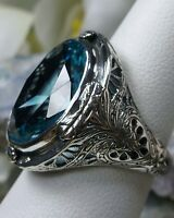 16ct Oval *Aquamarine* Sterling Silver Victorian Filigree Ring (Made To Order}