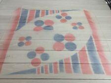 Sheer White Scarf Red Blue Dot Stripe Geometric Nylon Japan Vintage Groovy Retro