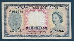 Malaya and British Borneo Malaysia 1 Dollar, 1953, P 1, VF