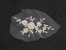 Pequeño Marfil con cuentas de encaje y apliques de Novia Boda Adorno de encaje floral .5X9.5cm Por Piezas