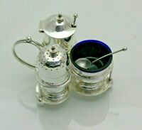 1894 Antique Sterling Solid Silver Full Cruet Set & Stand (1525/9/ESY)