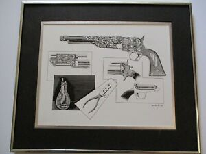 VINTAGE  PAINTING DRAWING ILLUSTRATION OF AN OLD ANTIQUE REVOLVER GUN WESTERN
