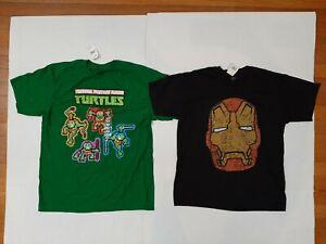 Lot Of 2 Teenage Mutant Ninja Turtles  & Iron Man Marvel Shirt Size Youth L
