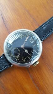 MILITARY SILVER BLACK DIAL OFFICER'S TRENCH WATCH 1917