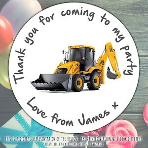 Personalised Digger Truck Birthday Party round stickers labels party cone sheet