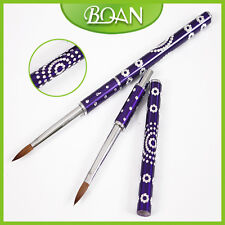 1Pc Acrylic Paint Nail Art Brush Tools Crystal Brush with Purple Metal Handle 6#