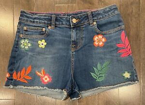 Girls' Mini Boden Embroidered Denim Jean Shorts - Size 16 Years - LN