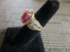 14K 2.45 CARAT OVAL FACETED 4 PRONG SET OPAQUE RUBY & DIAMOND RING SZ 6