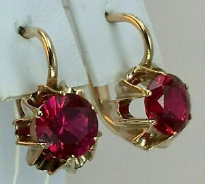 3Ct Round Red Ruby Solitaire Hoop Women's Earrings Solid 14K Yellow Gold Finish
