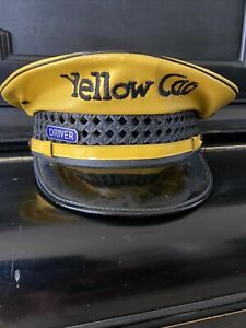 VINTAGE YELLOW CAB TAXI HAT / CAP LEATHER & WICKER LANCASTER BRAND SIZE 7 3/8
