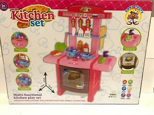 Kids Multifunction Kitchen Cooking Play Set ElectronicLight XMAS Toy Gift 3+Pink