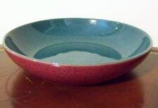 "Denby Harlequin 8"" Individual Pasta Bowl Green/Red Stoneware England Vintage"