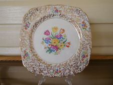 """H & K Tunstall """"Old English Tapestry Sampler"""" Cake Plate England 1940s"""