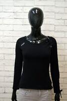 Maglia Donna GUESS Taglia XS Maglietta Nera Manica Lunga Shirt Women Polo Casual