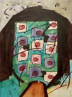 PETERS 1927-2019 NEW YORK CITY ABSTRACT MODERNIST PORTRAIT MIXED MEDIA DRAWING