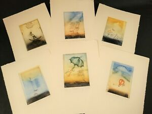 Surrealist Copper Plate Color Etchings ~ Signed & Numbered Limited Edition ~ Set