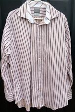 XXL Thomas Dean Men's Tan/Brown Striped Shirt Long Sleeve Button Down