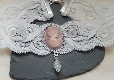Off White Lace Victorian Choker/Necklace Lady Pink Cameo/Crystal Drop Bridal UK