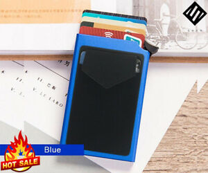 Pop-out RFID Credit Card Holder Slim Aluminium Wallet Elasticity+ Back Pouch