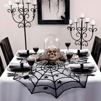 Black Lace Spiderweb Table Topper Table Cloth Cover Window Horror Halloween Deco