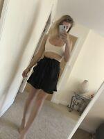 B2626 Size 10 Topshop Black High Waisted Frills Short Mini Skirt Tie