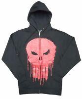 Marvel Punisher Dripped Red Skull Mens Black Zip Up Hoodie Sweatshirt
