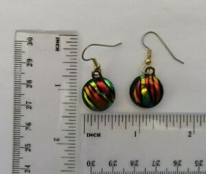 Fused Abstract Dangle Dichroic Glass Earrings/Surgical Steel Ear wires
