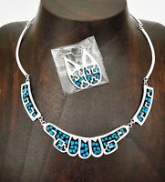 Artisan Geometric Inlaid Turquoise Necklace and Earring Set from Taxco