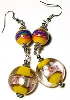 Long Silver Yellow Earrings Drop Dangle Hook Glass Bead Tibetan Style Artisan