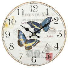 Shabby Chic Double Butterfly Wall Clock 34cm MDF CL75811