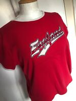 Vintage 1990s Size 16 Etam Red England Football Y2K Cropped World Cup T-Shirt
