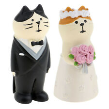 Humor Marriage Funny Polyresin Cat Couple Figurine Wedding Car Decoration