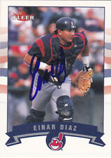 EINAR DIAZ CLEVELAND INDIANS SIGNED CARD ORIOLES CARDINALS DODGERS RANGERS EXPOS