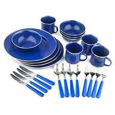 Enamel Camping Tableware Set, 24-Piece Lightweight and Compact, Blue Brand New