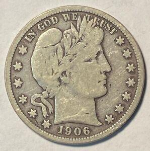 1906-D Barber Silver Half Dollar - VG/F