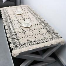 Vintage Rectangle Tablecloth Hand Crochet Cotton Lace Table Cloth 23x70inch Ecru