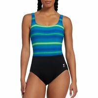 TYR Womens Tramonto Scoop Neck Controlfit Swimsuit Size 10 Blue TAQTR7AH