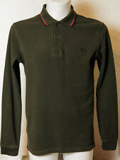 Fred Perry Long Sleeve Polo Shirt Green Small Size Twin Tipped Ska Mod