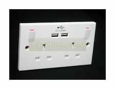 2 Gang Wall Mains Switched Socket with 2 USB Mobile Tablet Charging Charger Port