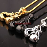 Men's Fashion Jewelry Left Right Boxing Glove Stainless Steel Pendant Necklace