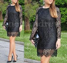 ZARA Mujer Negro Encaje Crochet vestido con escote de imitación de cuero Talla S UK 8