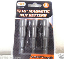 """3 PC. NEW 5/16 INCH x 2 9/16"""" INCH LONG MAGNETIC NUT DRIVER SETTERS"""