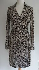 DVF DIANE VON FURSTENBERG NEW JEANNE SILK PRINT WRAP DRESS, US 10 UK 14