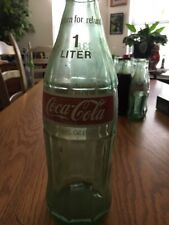 Vintage Empty 33.8 oz, 1 Liter Glass Coca Cola Bottle With Cap