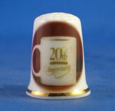 Birchcroft China Thimble -- 20th China Wedding  Anniversary  -- Free Dome Box