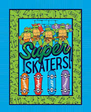 Skating Superdudes Ninja Turtles 100% cotton fabric panel approx 36 x 44 inches