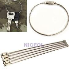 5 PCS Stainless Steel Wire Keychain Cable Screw Clasp Key Ring 20cm New