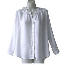 Ella Moss 'Cresen' White Openwork Floral Lace Back Panel Blouse Shirt Top Sz XS