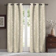 Royal Hotel Virginia Grommet Blackout Weave Embossed Window Curtain - Beige, Pair of 2